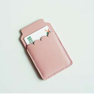 Pink leather card holder / leather business card case / leather card wallet/ leather card holder women