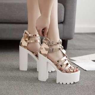 Size 34-39 Peep Toes Gladiators Chunky High Heels