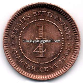 Straits Settlements 1901 Quarter Cent Queen Victoria fractional bronze coin--00091