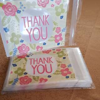 SALE! New Yellow Thank You w/ Flowers Cookie Plastic Pouch 10cm x 13cm