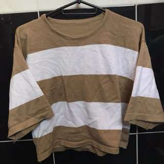 BROWN WHITE MID LENGTH TOP