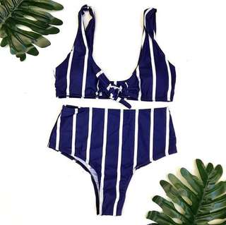 High waist 2pc tie bikini