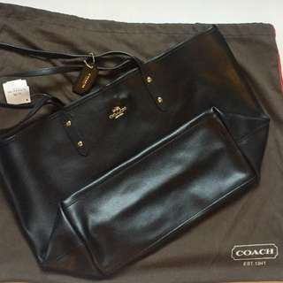 COACH HANDBAG CITY TOTE IN CROSSGRAIN LEATHER (COACH F35355) BLACK 100%全新