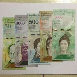 50, 500, 1k, 2k, 5k Venezuela Bolivares (Uncirculated)