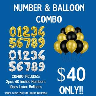 HELIUM BALLOON AND NUMBER BALLOON COMBO