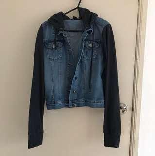 Denim Jacket W/navy Sleeves