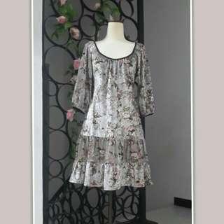 Dress Bludru Motif