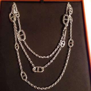 Hermes sliver Long necklace (豬鼻)