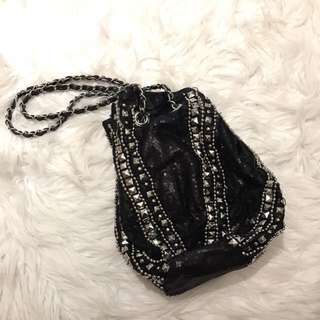 Black Beaded Shoulder Bag