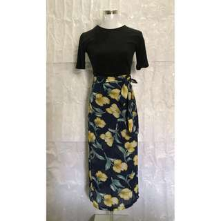 Navy/yellow floral skirt