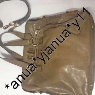 (二手品) 最後劈價 低過一折$1500 真品 YSL 2ways Brown tote bag 牛皮皮革手挽肩背兩用袋啡色  1