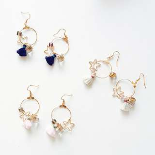 Dangling Drop Loop with Tassel & Star Charm Earrings