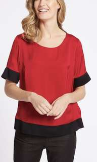M&S color block double layer shell top