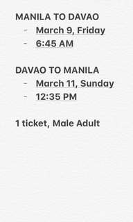 CEBUPAC MANILA TO DAVAO ROUNDTRIP TICKET
