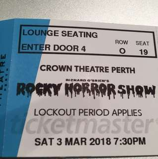 ROCKY HORROR SHOW X2 TICKETS PERTH