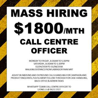 MASS HIRING! $1800 call centre officer