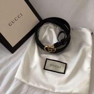 Gucci皮帶 黑色牛皮 雙G古銅金 1.5公分