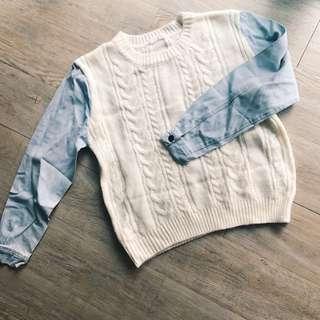 Cream white knit top jumper sweater with denim jeans sleeves insert 毛衣 冷衫 單寧 牛仔長袖