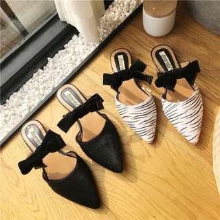 Size 35-39 Velvet Pointed Toes Ribbon Bow Slip On