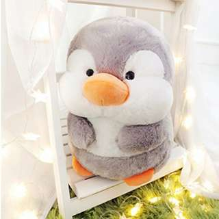 2in1 Gray Penguin Pillow with Blanket