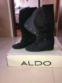 Aldo Button Down Wedge Boots - Size 7