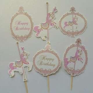 $8 Carousell Unicorn Cupcake Topper