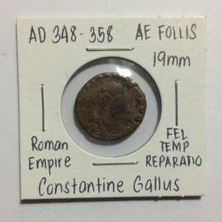 Constantine Gallus, AD 348-358 Roman Empire Follis (rare)