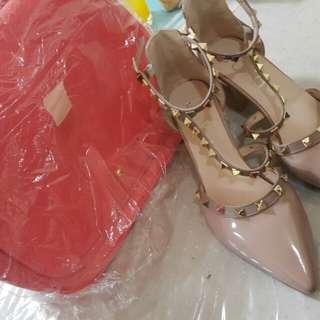 Valentino inspired heels + Peach bag
