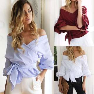 V neck Blue Blouse