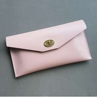 Pink leather clutch /leather clutch bag / leather pouch