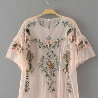 Embroidered Flower Lace Top Zara Look a Like  /pvra