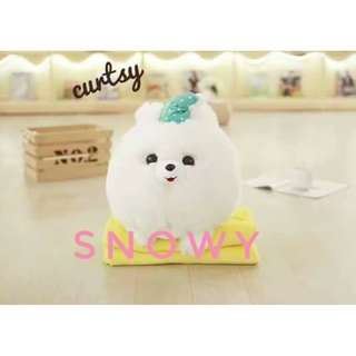 2in1 Cute Pomeranian Snowy Travel Pillow with Blanket