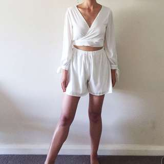 White Playsuit size 8-10