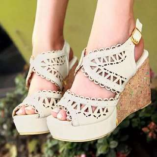 Size 32-48 Lace Peep Toes Wedges