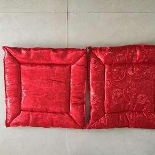 紅色暗花敬茶跪墊一對 喜慶 婚禮用品