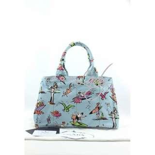 PRADA B1877B Canapa St.Foula 粉藍色印花圖案帆布 肩背袋 購物袋 手袋