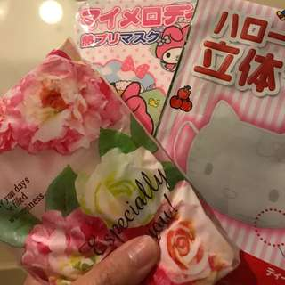 Japanese small towel & Sanrio disposable face mask