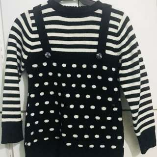 Long sleeve Blouse Polka dot Stripe