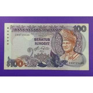 JanJun RM100 ZA 1st Prefix RARE 5th Taha 1982 Duit Lama