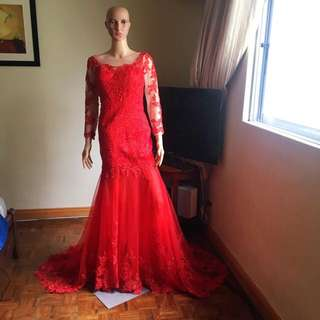 Red lace gown for rent only