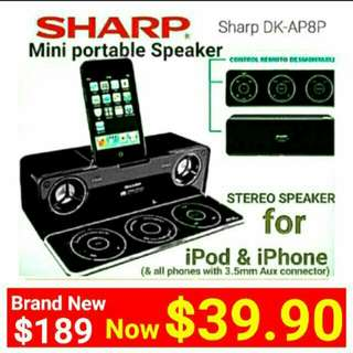 [Brand New] Portable SPeaker  with 2:1 channel HDSS &  Sub-woofer + Stylish PANEL Remote with dock for iphone/ipod(And Also compatible with any smart phone via 3.5mm Aux)  Model:DK-AP8P. Usual Price $189 Sale Price: $39.90.