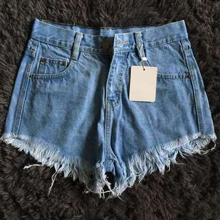 Uk10 denim ripped highwaist shorts