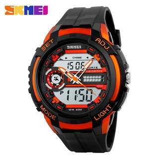 SKMEI Jam Tangan Analog Digital Pria - AD1202 - Black/Orange