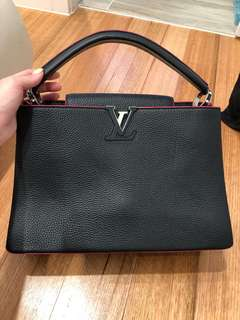 LV Louis Vuitton hand bag black leather