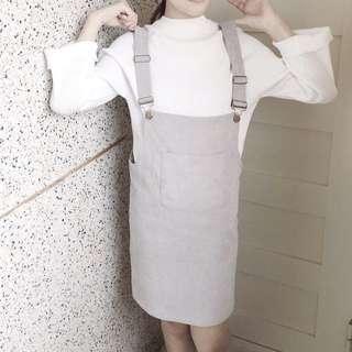 灰色絨質吊帶裙