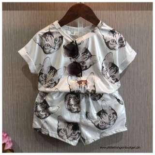 3D Kitten Top & Shorts Terno - Kid's Wear