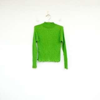 二手 綠色 銀蔥 微閃亮 彈性 毛料 上衣 明太子 0221