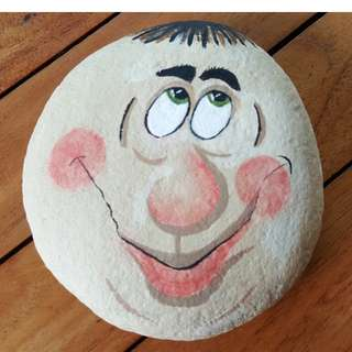 Individually acrylic hand painted Mr Smiley on large pebble