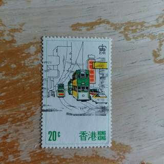 香港郵票97年回歸前電車已銷郵票1枚