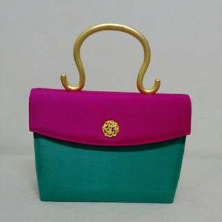 Vintage ZURRON Bright Fabric Handbag with Metal Handle